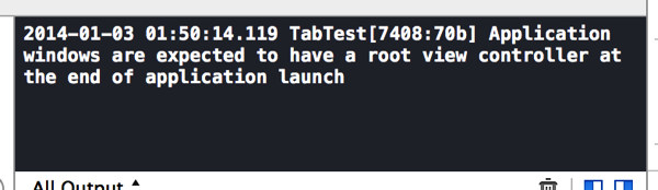 Xcode5で「Application windows are expected to have a root view controller at the end of application launch」と出た時の対処
